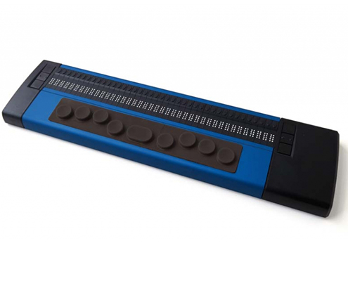 Basic Braille Plus, 40-Cell Braille Display with hands on the keyboard