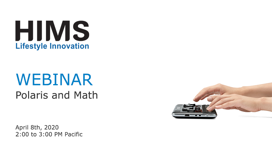 Webinar. Polaris and Math. Image of hands on a Polaris Notetaker.
