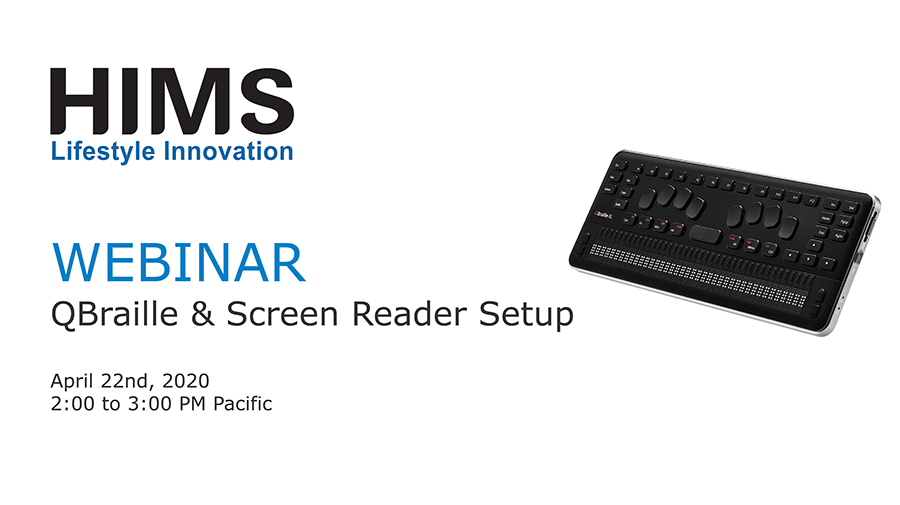 Webinar. QBraille and Screen Reader Setup. Image of QBraille XL