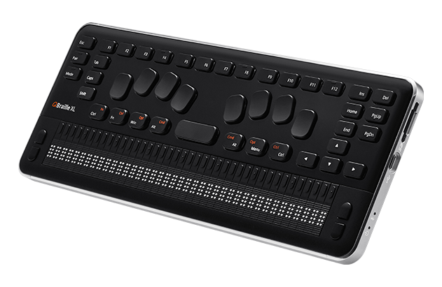 QBraille XL 40-cell braille display with Perkins keyboard and QWERTY system and function keys
