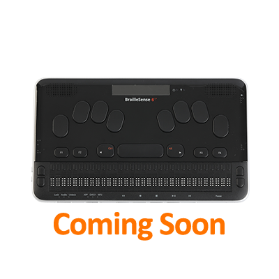 Image of the BrailleSense 6, 32-cell notetaker with text that says coming soon